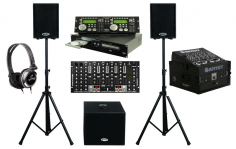 American-Audio-CDG350-Pro-DJ-Rack-Mount-Dual-CD-Player-with-Monitor-Headphones-Dual-10-Powered-PA-Speakers-Powered-15-Subwoofer-Behringer-VMX1000USB-7CH-Mixer-and-Odyssey-Flight-Case-detailed-image